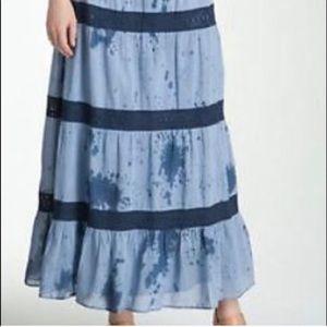 MICHAEL LORS | Blue Lace Maxi Skirt Tie Dye Boho